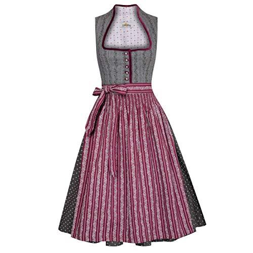 Almsach Damen Trachten-Mode Midi Dirndl Melinda in Grau traditionell, Größe:52, Farbe:Grau