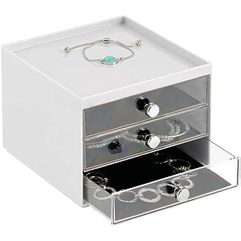 mDesign Organizador de joyas – Mueble joyero transparente con tres cajones plásticos – Cajas para joyería de plástico para la cómoda o el tocador – gris claro/transparente: Amazon.es: Hogar