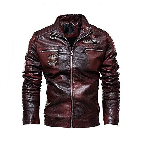XFei Chaqueta de Cuero de imitación de Motocicleta Casual para Hombres, Chaqueta de café Racer Slim Fit Vintage Stand Collar Motorcycle Biker Leather Black Jacket Coat para Hombres