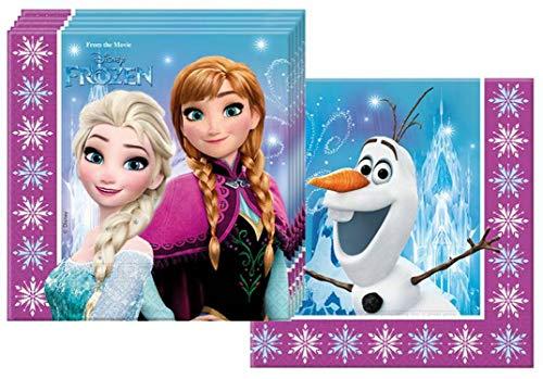 Ciao Procos 86757 – Serviettes Papier Disney La Reine des neiges Northern Lights (33 x 33 cm, 2 Plis), 20 pièces, Multicolore