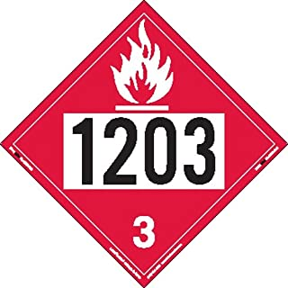 Labelmaster ZRV21203 UN 1203 Flammable Liquid Hazmat Placard, Rigid Vinyl (Pack of 25)
