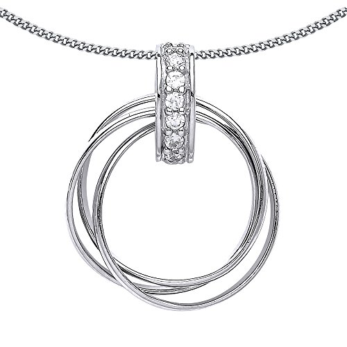 Jewelco London Ladies Rhodium Plated Sterling Silver Cubic Zirconia Chinese Linking Rings Charm Necklace 18 inch