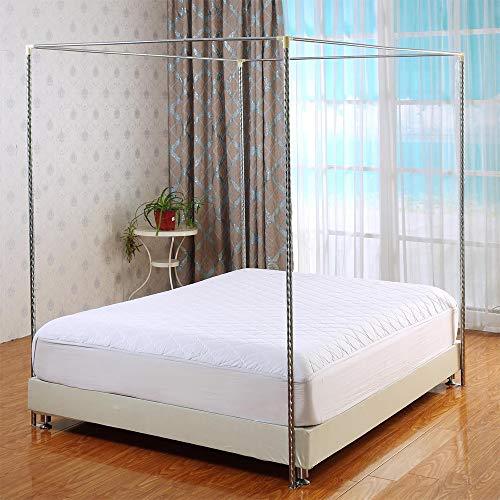 HOXMOMA Moskitonetzhalter Vier Eckbett, Edelstahl Baldachin Moskitonetz Baldachin Rahmen, Bettüberdachung, Gestell für Twin/Full/Queen/California King/King Size Bett,25mm,2×2.2m Bed