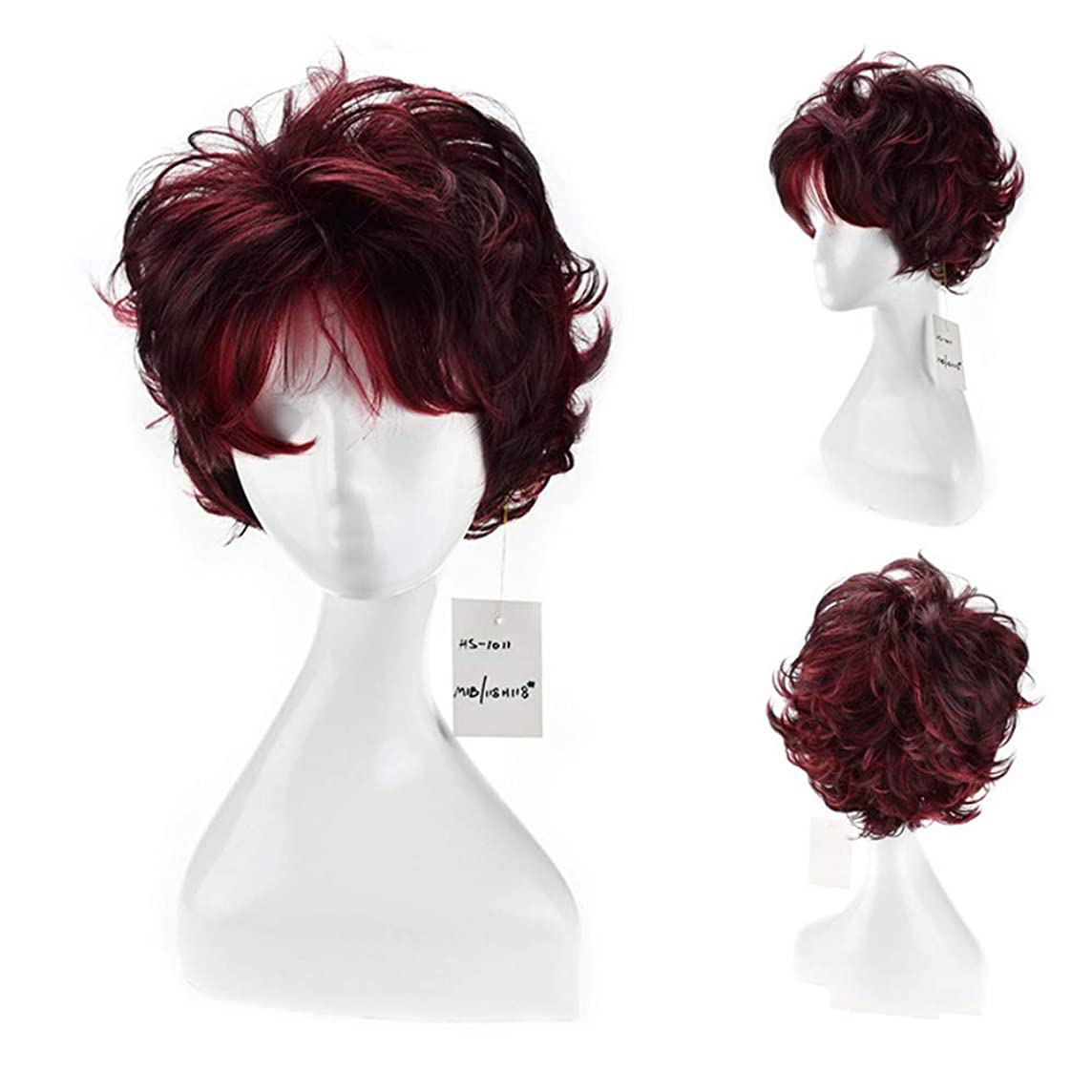 独占バッフルみがきますYAHONGOE 女性の人工毛ショートボブウィッグワインレッドショートカーリーヘアフルヘッド無料キャップパーティーウィッグ (色 : ワインレッド)