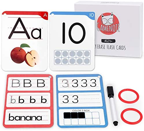 Gamenote Dry Erase Alphabet and Number Flash Cards Write and Wipe Laminated ABC Letter Tracing product image
