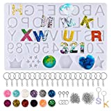 193pcs Accesorios Molde de Silicona Moldes de Letras Números para Llaveros Joyerías Resina Fabricación de Joyas Colgante Herramientas Manualidades
