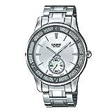 Casio LTP-E135D-7AV Reloj de acero inoxidable con esfera de cristales