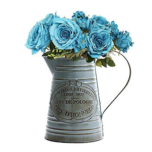 Brownrolly - Jarrón de metal vintage con asa, diseño de flores y flores