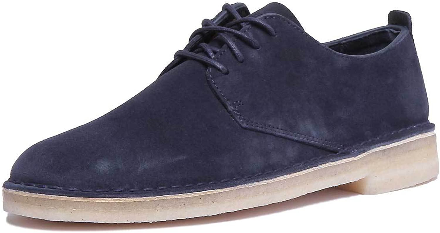 Clarks Originals Mens Desert London Suede shoes in Midnight- Lace Fastening- Low