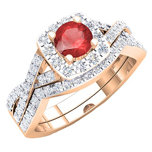 Juego de anillos de compromiso de oro rosa con topacio azul y diamante blanco de 18 quilates para mujer