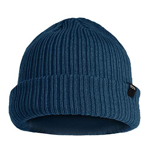Eono by Amazon - Gorros para hombre y mujer, unisex, gorro de invierno con puños lisos, suaves, cálidos, de punto (azul marino)