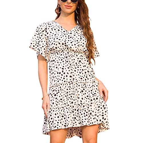Primavera Y Verano Mujer Moda Casual con Cuello En V Gasa Estampado Floral con Cordones Cintura Suelta Vestido Mujer