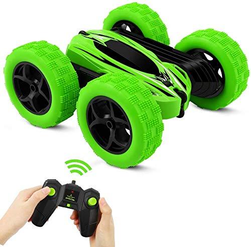 Vivibel Ferngesteuertes Auto, 2.4GHz RC Auto Spielzeug Kinder , Wiederaufladbar 360-Grad-Spin und Flip Stunt Buggy Car, Spielzeugauto ab 2 Jahren, Geschenk für Kinder (Grün)