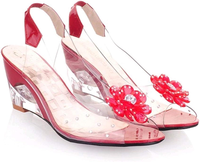 T-JULY Women Sandals Wedges High Heels Crystal Peep Toe Elegant Party Sexy Wedding Flowers Transparent Slingback shoes