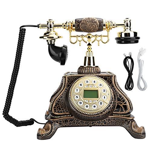 Teléfono Fijo Retro con Cable, Vintage Teléfono Fijo para el Hogar, Teléfono Fijo de Estilo Europeo Teléfono Antiguo con Retroiluminación para la Cabecera del Dormitorio/Sala de Estudio/Hotel