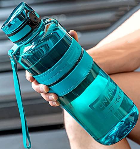 Botella de Agua de capcidad Grande 1L / 1.5L / 2L Botellas Deportivas con Cuerda al Aire Libre Fitness Running Gimnasio Entrenamiento BPA Hervidor de plástico Libre,Vine Cyan,2000ML