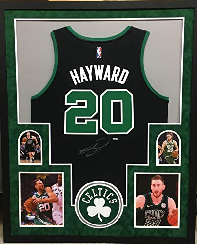 Gordon Hayward Boston Celtics Signed Autograph Licensed Swingman Custom Framed Jersey Black Suede Matted 4 Picture Fanatics Authentic Certified