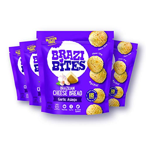 Brazi Bites Gluten-Free Brazilian Cheese Bread: Garlic Asiago | Vegetarian Frozen Bread Snacks | Soy-Free | No Artificial Ingredients | No Preservatives | 11.5 oz. pouches (4-pack)