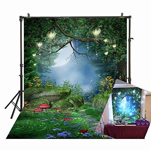 1,5 x 2,1 m Fotografie Hintergrund Zauberwald Pilze und Fee Laternen Foto Hintergrund Fee Wald Hintergrund für Kinder Geburtstag Party Studio Requisiten D-7918