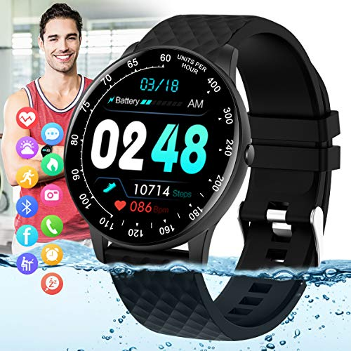 Pradory Smart Watch,Fitness Watch with Blood Pressure Heart Rate Monitor IP67 Waterproof Bluetooth Smartwatch Android Phone Watch Sports Activity Tracker Compatible Android iOS Phones for Men Women