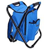 Outrav Blue Backpack Cooler and Stool - Collapsible Folding Camping Chair and Insulated Cooler Bag with Zippered Front Pocket and Bottle Pocket – for Hiking, Beach and More