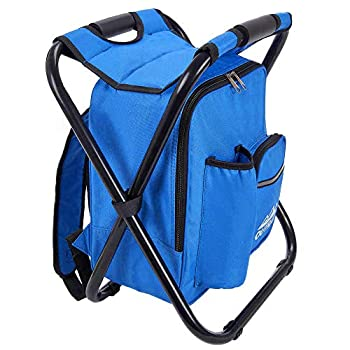 Outrav Blue Backpack Cooler and Stool - Collapsible Folding Camping Chair and Insulated Cooler Bag with Zippered Front Pocket and Bottle Pocket – for Hiking Beach and More