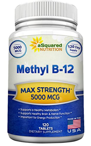 Vitamin B12-5000 MCG Supplement with Methylcobalamin (Methyl B-12) - Max Strength Vitamin B 12 Support to Help Boost Natural Energy & Metabolism, Benefit Brain & Heart Function - 120 Tablets