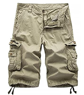 AOYOG Mens Solid MultiPocket Cargo Shorts Casual Slim Fit Cotton Solid Camo Shorts, Khaki 082, Lable size 38(US 36)