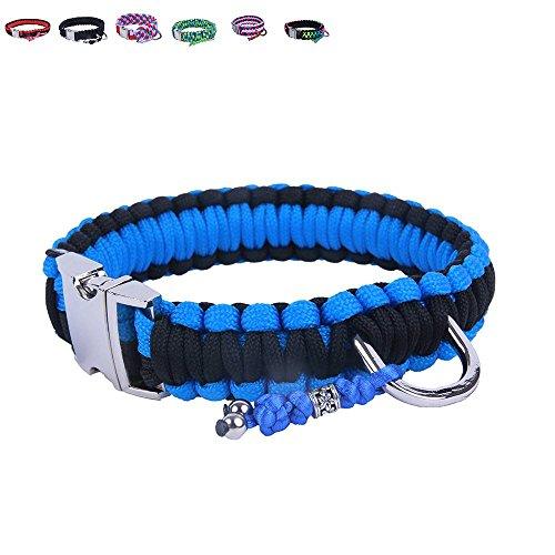 BelloBand Hundeleine Set aus Paracord / Führleine mit Hundehalsband für kleine Hunde / Farbe: Schwarz/Blau / 30cm ø