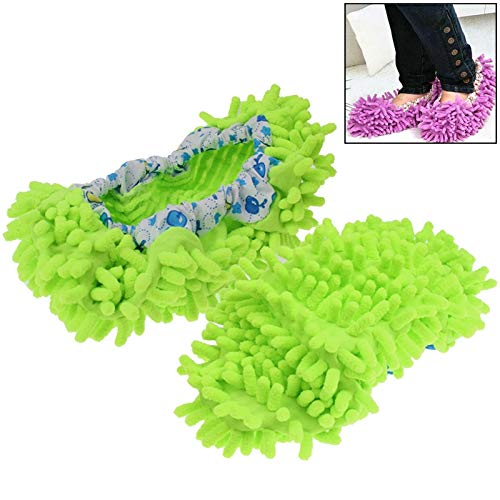 Timemall Inicio prácticos pequeños Productos Par de Fundas de Limpieza de Zapatillas multifuncionales Mop Floor Clean Shoes Covers (Magenta), Creative mop Shoe Cover (Color : Green)
