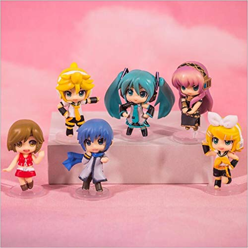 YHP 6pc Mini Japonesa Virtual Singer Hatsune Miku Kagamine Rin/len Luka Figura PVC, de colección y decoración de Juguete Modelo for Aficionados Collection