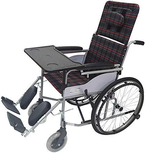 XUSHEN-HU Silla de ruedas totalmente acostada ligera silla de ruedas plegable silla de viaje portátil aleación de aluminio colisión transporte silla de ruedas tela de cuero ligero