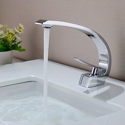 BONADE Waschtischarmatur Wasserhahn Chrom Bad Armatur Einhebelmischer Mischbatterie Waschbeckenarmatur für Badezimmer Waschbecken (ohne Zugstangen-Ablaufgarnitur)