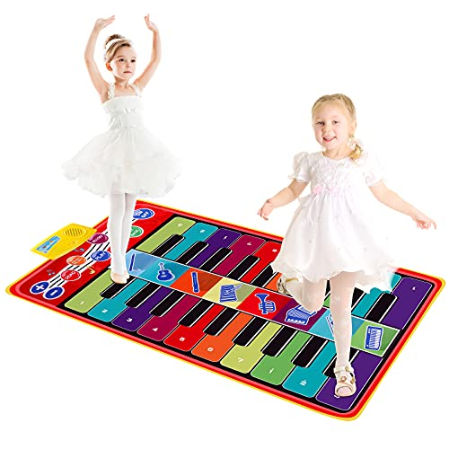 M SANMERSEN Kids Piano Mat, Keyboard Music Mats with 8 Instrument Sounds/ 10 Demos Touch Play Musical Mat Gifts Toy for Boys Girls( Double-Way for Playing)