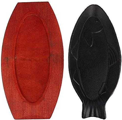 Fish Shaped Pre-Seasoned Cast Iron Griddle Fajita Skillet Server Plate Sizzling Meat Plate with Wood Base