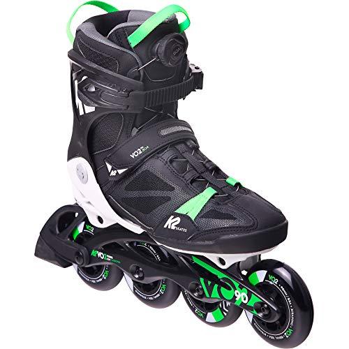 K2 Skates Herren Inline Skate VO2 90 Boa M — Black - Green — EU: 43.5 (UK: 9 / US: 10) — 30E0880
