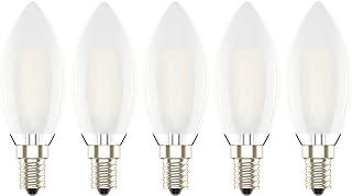 Pack de 5 Unidades Bombillas Vela de Filamento LED E14 (Casquillo Fino) 4W equivalente a 30W, 300 lúmenes, Color Blanco Cálido 2700K,Bombilla Retro Vintage, No Regulable