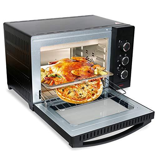 VINGO 30 Liter Minibackofen Mini Backofen mit Umluft,1600 Watt Mini Pizza-ofen,Innenbeleuchtung,Grillrost und Backblech,Timer