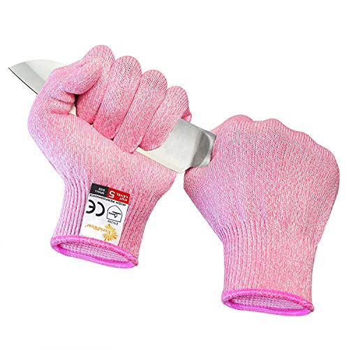 EVRIDWEAR Cut Resistant Gloves, Food Grade Level 5 Safety Protection Kitchen Cuts Gloves For cutting, Chopping, Fish Fillet, Mandolin Slicing and Yard-Work (Large, Pink)