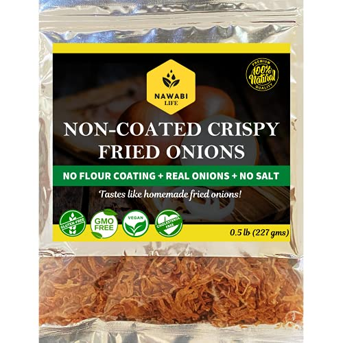 Non-Coated Crispy Fried Onions - Healthiest Fried Onions, Gluten free,100% Natural, Non-GMO, No Sodium, Low Carb, Keto friendly, Kosher, Halal & Delicious  By Nawabi Life