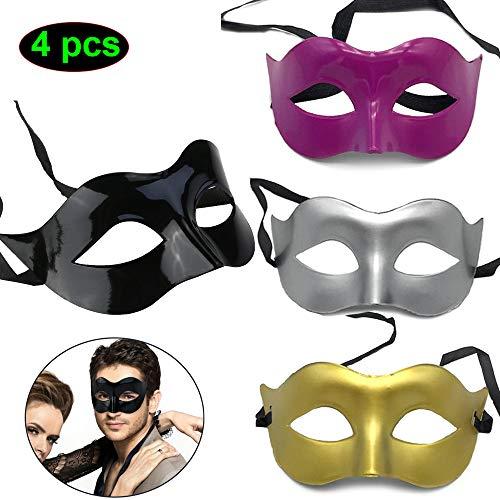 CAILI 4 Stücke Maskerade Maske Herren Venezianische Maske Oper Kostüme Karneval Party für Männer Frauen Party Ball Halloween - Mitternacht Schwarz,Gold, Silber, Rosenrot