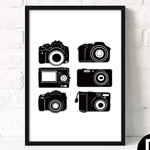RTCKF einfache schwarz-weiß Retro-Kamera Poster Malerei Kern Wohnzimmer Schlafzimmer dekorative Malerei ohne Rahmen D3 40cmx50cm