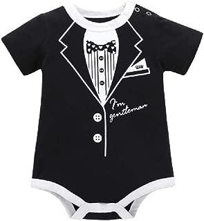 RONSHIN Infant Baby Boys Summer Casual Gentleman Style Short Sleeve Romper Black 6M
