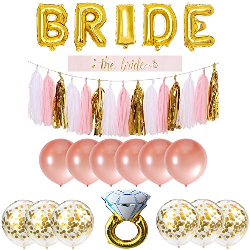 Bachelorette Party Decorations Pack Includes: Gold Foil Bride Balloon Banner Garland, Bride to be Sash + Rose Gold & Gold Confetti Balloons + Diamond Ring Balloon + Cute Bachelorette Tassel Banner