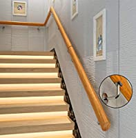 JPL 屋内階段用手すりパインウッド安全滑り止め高齢者用手すり、鉄製壁掛けブラケットヴィラコリドー幼稚園ガードレール,220cm