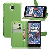 HS-TOP Caracola OnePlus 3, OnePlus 3Case, Construido en [Card Slot] Funda–Funda de Piel con Wallet Ultraslim Stand Case Flip Case Cover para OnePlus 3A3000, Verde