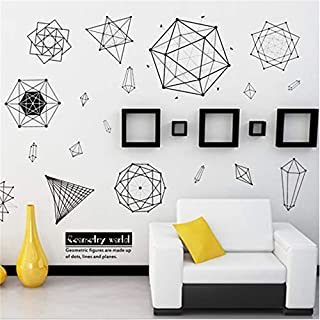 LJLQ Cartoon Black Flower Sacred Geometry Wall Stickers Metallic Effect View Wall Decal Removable Home Design Wallpaper Poster Murals