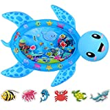 MAGIFIRE Tummy Time Water Mat,Inflatable Baby Water Mat Newborn Infant Toys Gifts for 3 6 9 18 Months Boy Girl(Sea Turtle Shape)