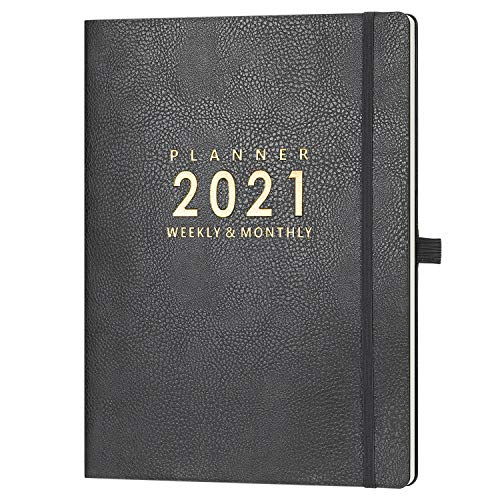 "2021 Planner with Pen Holder - Weekly & Monthly Planner with Calendar Stickers, Jan. 2021 - Dec. 2021, Inner Pocket with 24 Notes Pages, A4 Premium Thicker Paper, 8.5"" x 11"