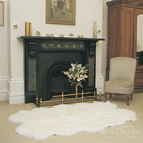 """Windward Natural Sheepskin Plush Area Rug Bright White Color Approx 73""""x43"""" Extra Soft Touch of Luxury"""